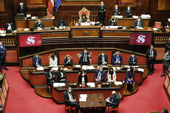 Le premier ministre italien, Giuseppe Conte, au Sénat, à Rome, le mardi 19 janvier.