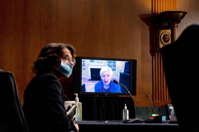 La sénatrice démocrate de Californie Dianne Feinstein pendant l'audition de Janet Yellen, par visioconférence, en vue de sa nomination comme secrétaire au Trésor, le 19 janvier 2021.