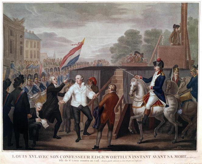 « Louis XVI, avec son confesseur Edgeworth, un instant avant sa mort, le 21 janvier 1793. » Estampe de J.-F. Cazenave (1794 ?).