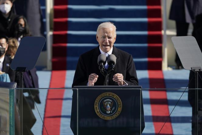 Le président Joe Biden lors de son investiture le 20 janvier 2021