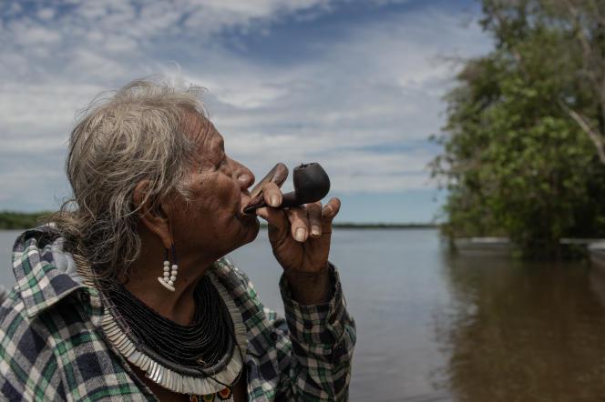 Le chef indigène Raoni, le 21 avril 2019, à Sao José do Xingu (Mato Grosso, Brésil).