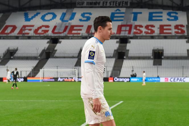 Florian Thauvin au moment de son remplacement contre Lens, le 20janvier 2021.