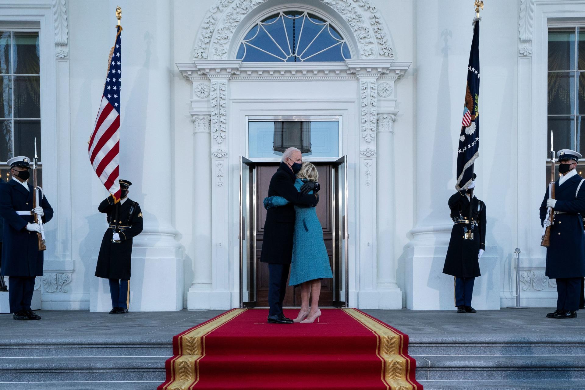 جو و جیل بایدن در بدو ورود به کاخ سفید.