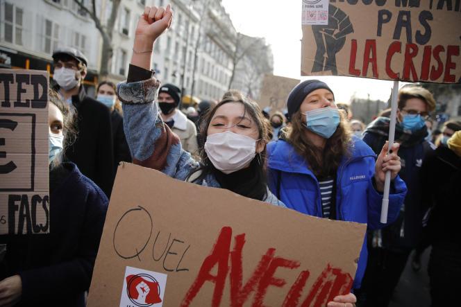 Manifestation d'étudiants à Paris le 20 janvier.