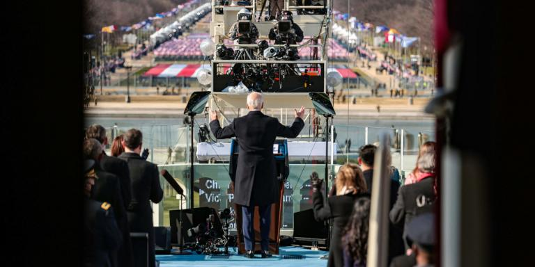 US President Joe Biden delivers his inauguration speech after being sworn in as the 46th President of the US on January 20, 2021, at the US Capitol in Washington, DC.  / AFP / POOL / Win McNamee