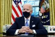 Joe Biden dans le bureau Ovale de la Maison Blanche, mercredi 20 janvier 2021.