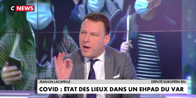 Le député européen Jean-Lin Lacapelle (Rassemblement national), sur le plateau de CNews, le 21janvier.