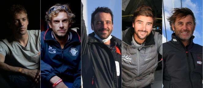 Cinq marins, actuellement dans un mouchoir de poche, sont attendus mercredi 27 janvier au matin aux Sables-d'Olonne, pour l'arrivée de la 9e édition du Vendée Globe:Thomas Ruyant, Charlie Dalin, Louis Burton, Boris Herrmann et Yannick Bestaven (de gauche à droite).