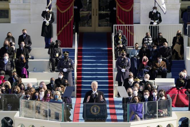 Le président Joe Biden lors de son investiture Capitole, à Washington, mercredi 20 janvier 2021.