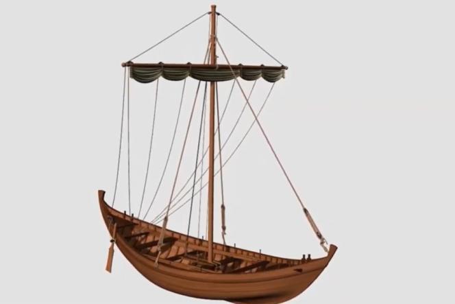 Modélisation d'un petit navire romain de l'Antiquité.