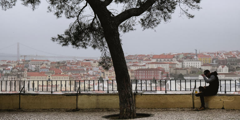 Covid-19 January 2021 Lockdown in Lisbon, Portugal. Graca neighbourhood, viewpoint of