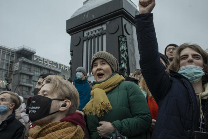 Rassemblement en soutien au leader de l'opposition Alexeï Navalny, à Moscou, le 23 janvier.