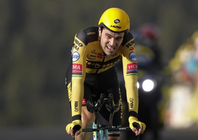 Tom Dumoulin à l'arrivéedu contre-la-montre individuel du Tour de France au sommet de la Planche-des-Belles-Filles, le 19 septembre 2020.