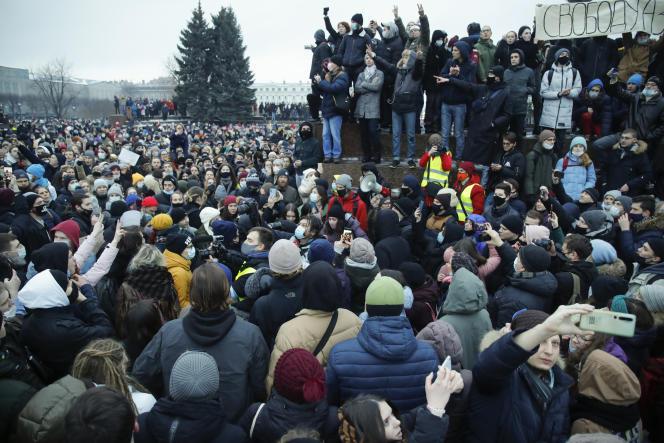 تظاهراتی در حمایت از الکسی ناوالنی ، 23 ژانویه ، در سن پترزبورگ ، روسیه.