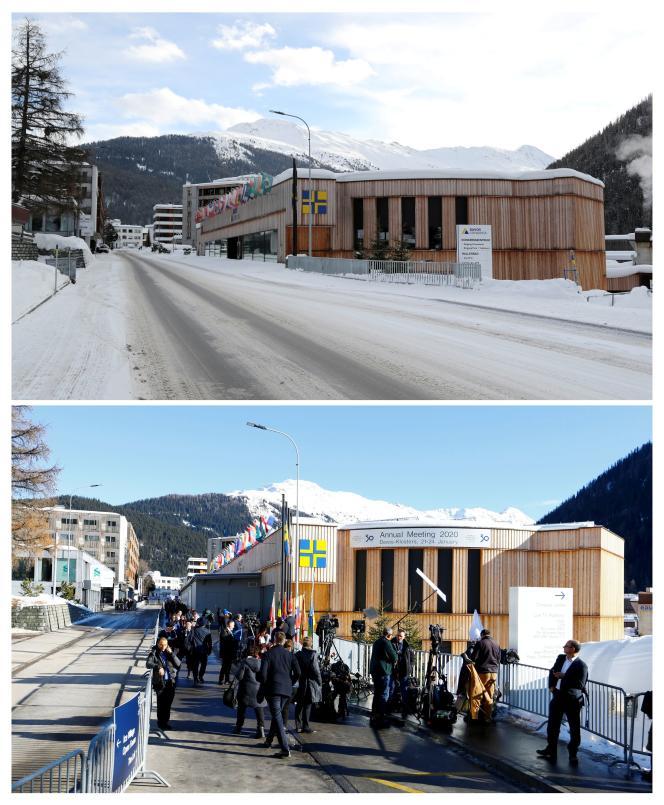 Vue du Palais des congrès de Davos, le 22 janvier 2021, et la même vue prise le 22 janvier 2020.