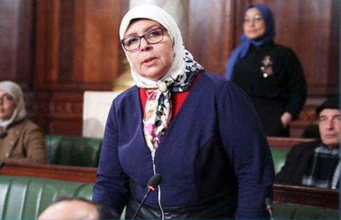 Meherzia Labidi à l'Assemblée des représentants du peuple à Tunis. Elle fut vice-présidente lors de l'Assemblée constituante après la révolution de 2011, puis députée.