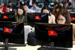 La salle de presse du treizième congrès du Parti communiste vietnamien, où personne ne porte le masque, à Hanoï, le 22 janvier.