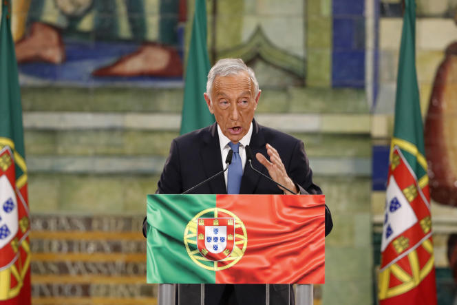 Le président Marcelo Rebelo de Sousa lors d'un discours, le 25 janvier, après sa réélection à Lisbonne (Portugal).