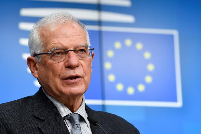 Le chef de la diplomatie européenne, Josep Borrell, lors d'une conférence de presse à Bruxelles en janvier.