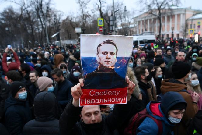 تظاهرات علیه زندان الکسی ناوالنی ، 23 ژانویه در مسکو.