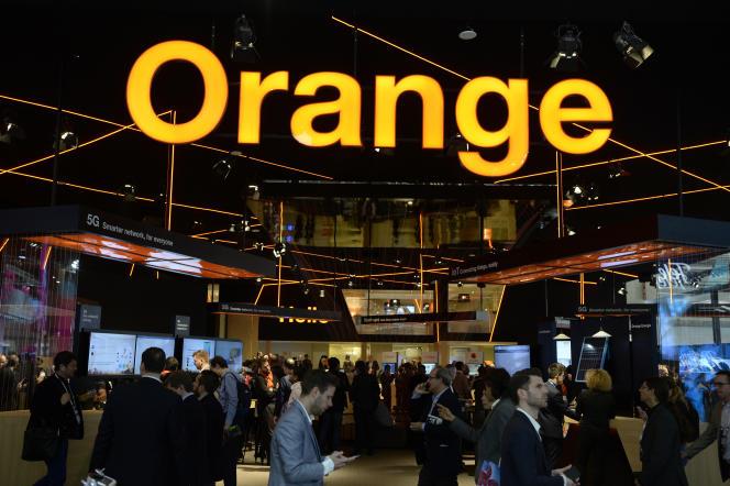 Le stand de l'opérateur Orange, au Mobile World Congress de Barcelone, en février 2019.