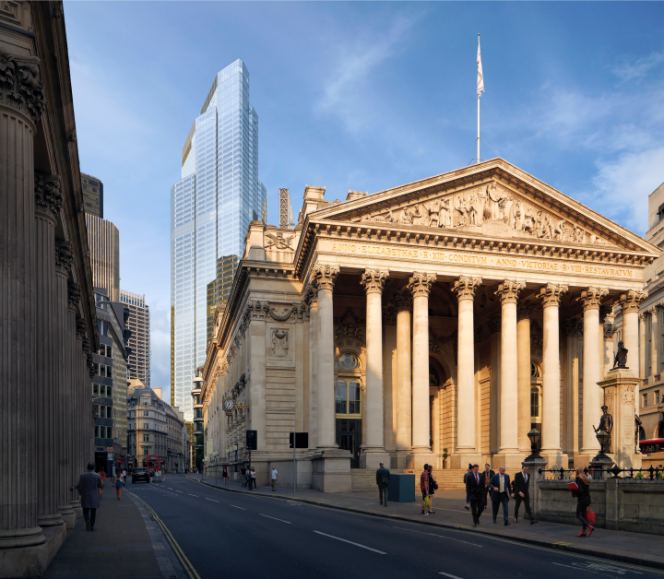 L'immeuble 22 Bishopsgate. Au premier plan, le Royal Exchange, construit au XIXesiècle, et aujourd'hui centre commercial.