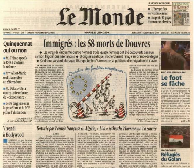 Le haut de la« une» du «Monde» daté du 20 juin 2000 qui révèle le témoignage de l'Algérienne indépendantiste Louisette Ighilahriz, torturée et violée en 1957 par l'armée française.
