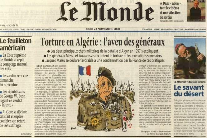 Le haut de la« une» du «Monde» daté du 23 novembre 2000.