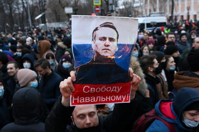 Manifestation contre l'emprisonnement d'Alexeï Navalny, le 23 janvier à Moscou.