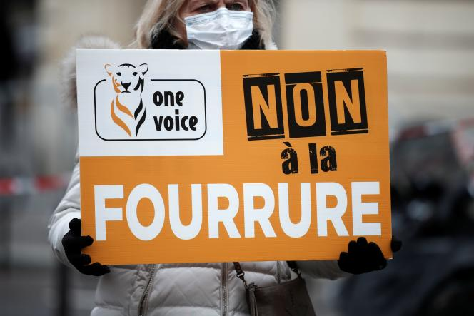 Members of several animal rights groups demonstrate to demand an animal law near the National Assembly in Paris as French MPs discuss articles of the animal abuse bill in Paris on January 26.