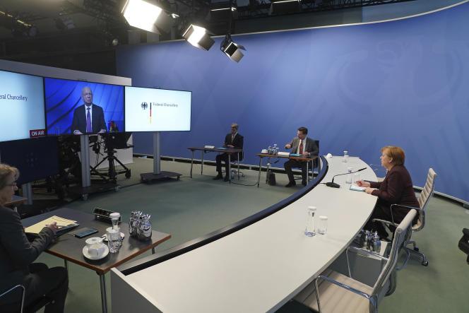 La chancelière allemande, Angela Merkel, depuis Berlin, lors de la réunion en ligne organisée par le Forum économique mondial le 26 janvier.