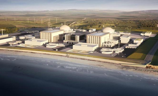 Image de synthèse, publiée en juillet 2016 par EDF Energy, des deux réacteurs nucléaires proposés par l'électricien français pour la centrale d'Hinkley Point C (HPC), dans le sud-ouest de l'Angleterre.