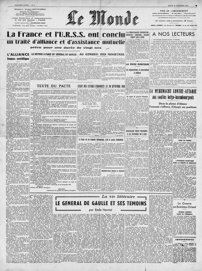 Première «une» du Monde, le 18 décembre 1944.