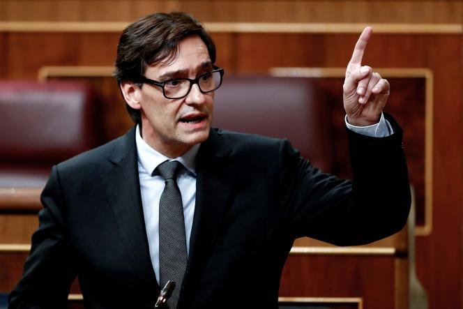 Le ministre espagnol de la Santé, Salvador Illa, au Parlement espagnol,le 22 avril 2020.
