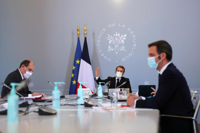 Jean Castex, Emmanuel Macron and Olivier Vernon, on November 12, 2020 in Elysée.