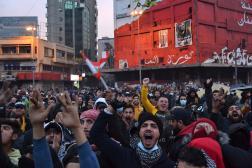 Rassemblement sur la place Al-Nour dans la ville portuaire de Tripoli, dans le nord du Liban, le 27 janvier 2021.