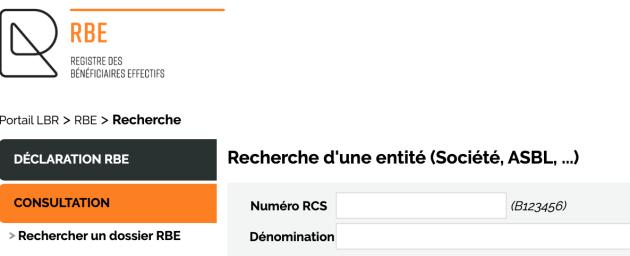 Capture d'écran de l'interface de recherche du registre des bénéficiaires effectifs (RBE) du Luxembourg.