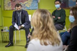 Le président Emmanuel Macron, rencontre des étudiants, à la Maison des étudiants de l'Université Paris Saclay, le 21 janvier.