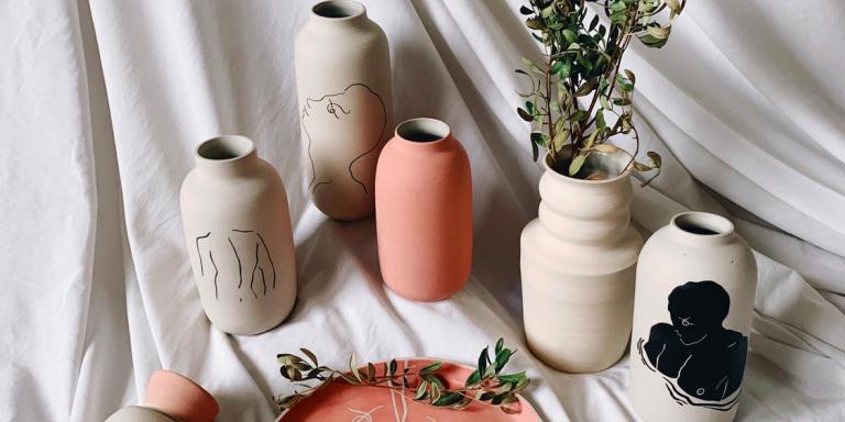 Céramiques de Théo Tourne, inspirées de Jean Cocteau.