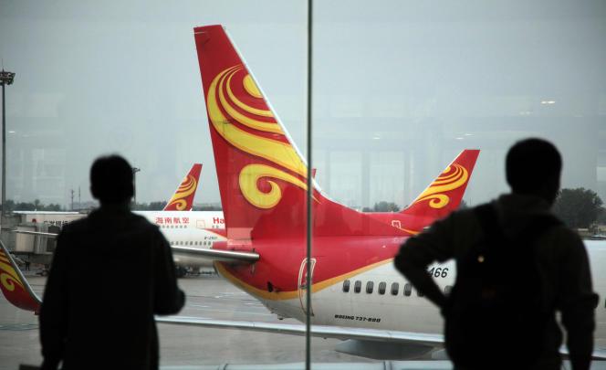 Avion de la compagnie Hainan Airline, le 12 juin 2014, à l'aéroport de Haikou (Chine).