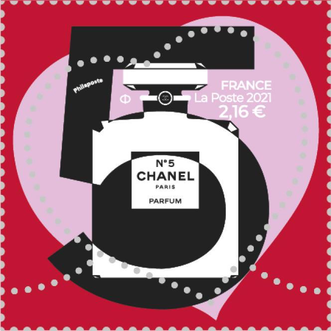 Timbre « Coeur » Chanel n°5, tarif « lettre verte » 20 à 100 grammes (2,16 euros). En vente générale le 25 janvier.