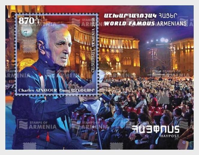 « Charles Aznavour», timbre arménien paru en 2018.