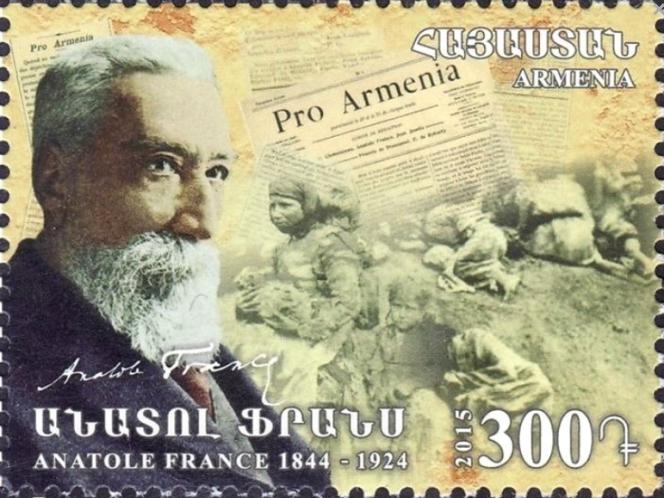 « Anatole France», timbre arménien paru en 2015.