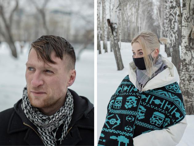 A gauche, Dmitri Galkine est «fatigué de l'injustice ». A droite, Maria «n'aime pas ce qu'il se passe dans ce pays». « Je veux que cela change.»