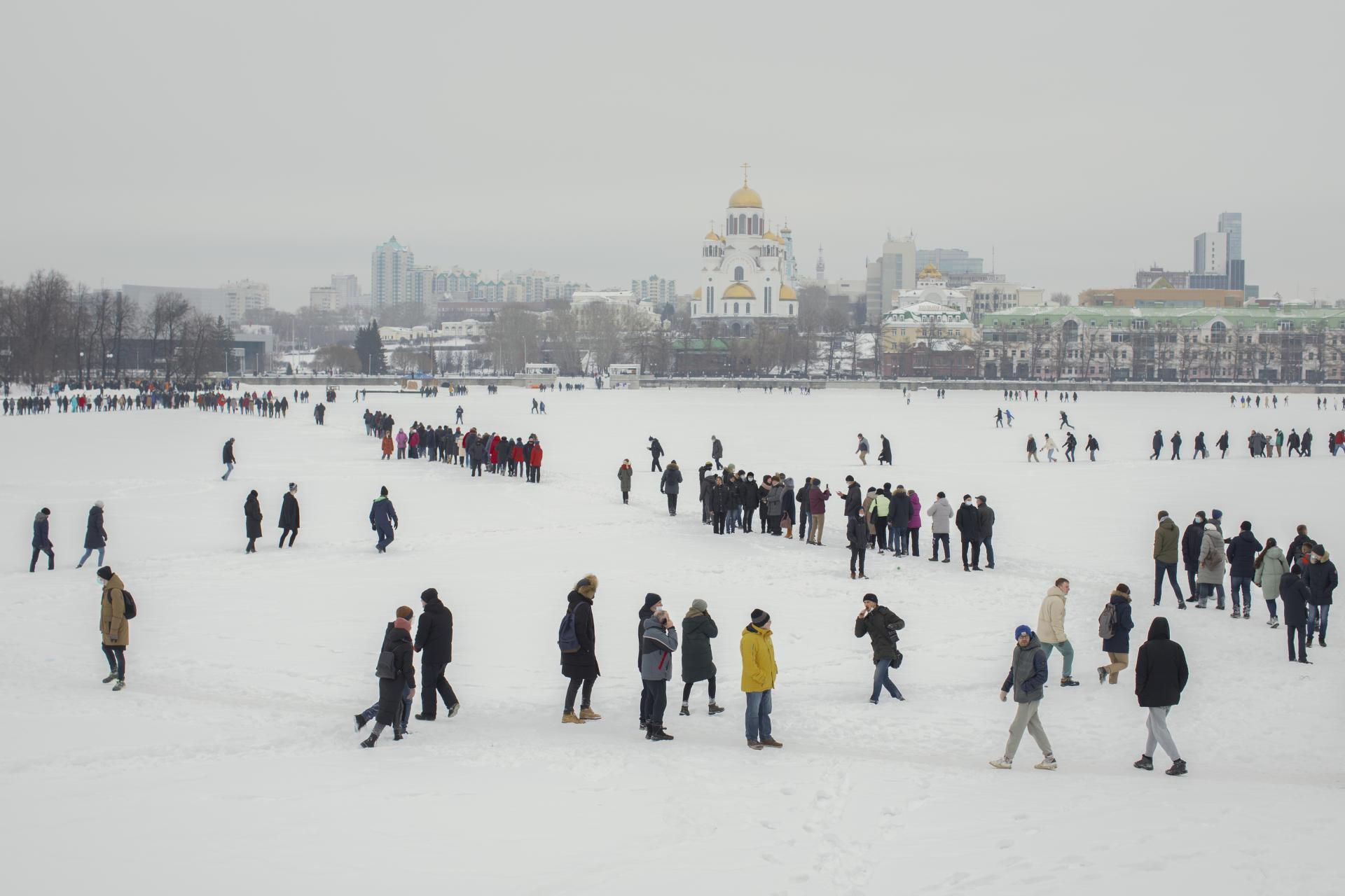 Manifestation contre l'incarcération d'Alexeï Navalny, sur la rivière gelée Iset, à Iekaterinbourg, la capitale de l'Oural (Russie), le 31 janvier.
