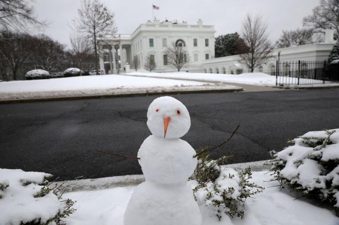 در واشنگتن ، کاخ سفید در برابر بارش برفی که روز دوشنبه ، اول فوریه شمال شرقی ایالات متحده رخ داد ، در امان نبود.