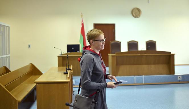 Marina Zolotova, rédactrice en chef du site d'information Tut.by, au tribunal de Minsk, le 4 mars 2019.