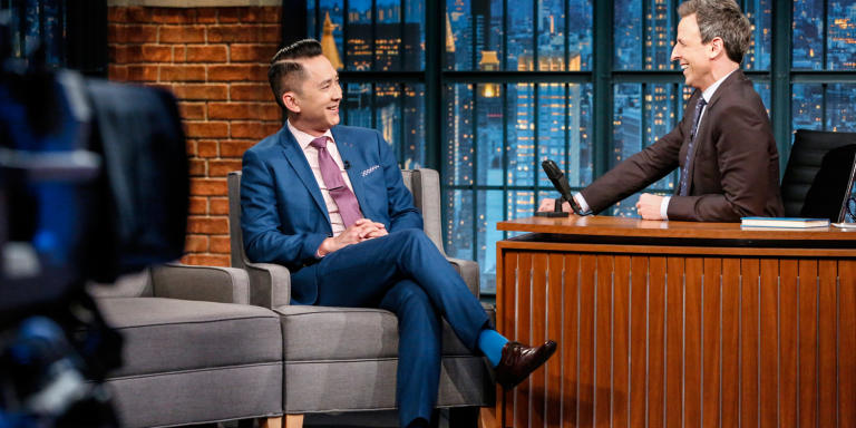 LATE NIGHT WITH SETH MEYERS -- Episode 487 -- Pictured: (l-r) Author Viet Thanh Nguyen during an interview with host Seth Meyers on February 9, 2017 -- (Photo by: Lloyd Bishop/NBCU Photo Bank/NBCUniversal via Getty Images via Getty Images)