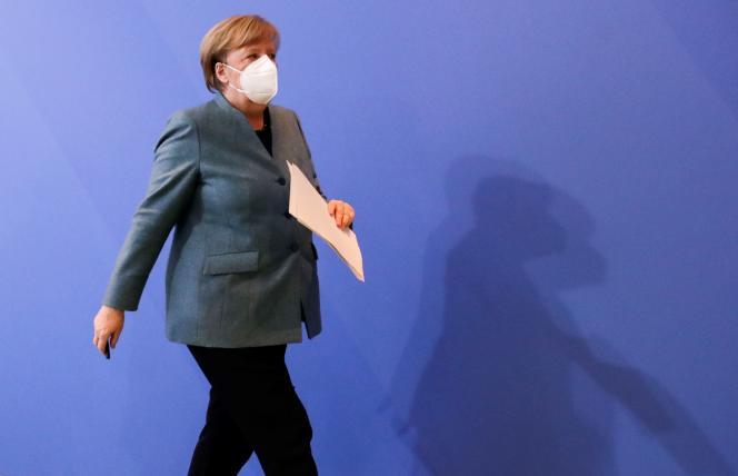 آنگلا مرکل صدراعظم آلمان در یک کنفرانس مطبوعاتی در اول فوریه در برلین.