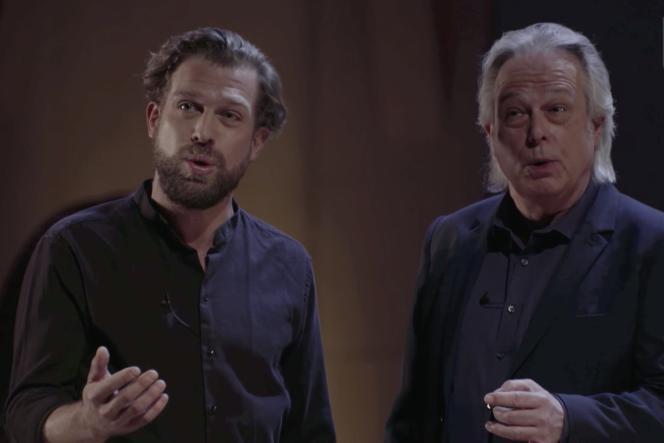 Capture d'écran du concert «Christoph (à droite) et Julian (à gauche) Prégardien chantent Beethoven et Schubert», donné à la Philharmonie de Paris, le 26janvier 2021.